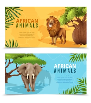 Animaux safari bannières horizontales