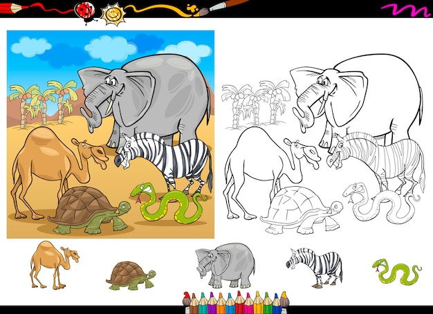 Animaux de safari ensemble de pages à colorier