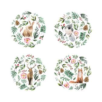 Animaux sauvages avec des fleurs et des feuilles peintes à l'aquarelle