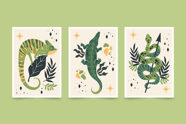 Les animaux sauvages couvrent dessinés à la main