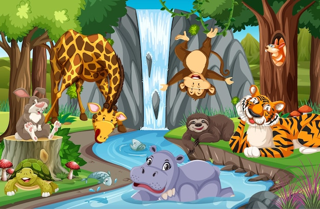 Animaux sauvages dans la jungle