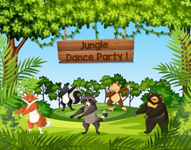 Animaux sauvages dansant dans la jungle