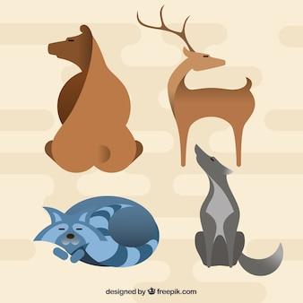 Animaux sauvages dessinés à la main pack