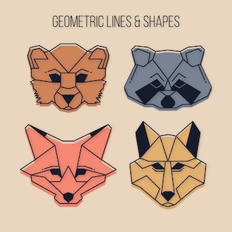 Animaux sauvages géométriques avec des lignes