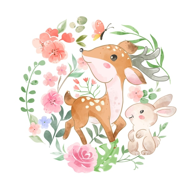 Animaux sauvages mignons et fleur en forme de cercle illustration