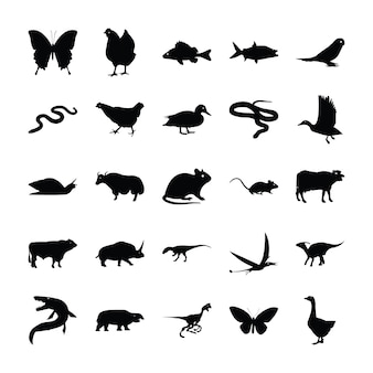 Animaux sauvages pictogrammes solides
