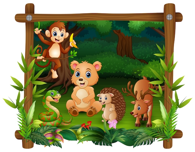 Les animaux se rencontrent dans la forêt