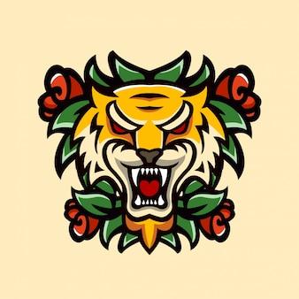 Animaux de tatouage tiger and rose vintage artistique