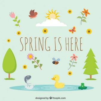 Les animaux et la végétation au printemps