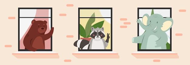Les animaux voisins mignons dans les fenêtres de la maison encadrent la salutation drôle d'éléphant de raton laveur d'ours de bébé