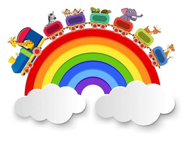 Les animaux voyagent en train sur la route de l'arc-en-ciel