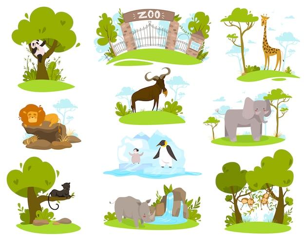 Animaux de zoo, personnages de dessins animés, ensemble d'illustration d'autocollants isolés