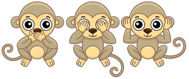 Animaux de zoo. trois petits singes drôles dans un style cartoon. ne vois aucun mal n'entends aucun mal ne parle pas de mal