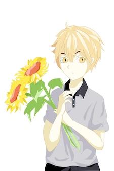 Anime garçon cheveux jaunes apporte deux fleurs soleil