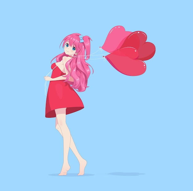 Anime manga fille en robe tient des ballons coeur
