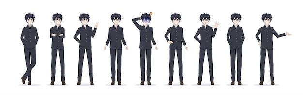 Anime manga garçon en uniforme scolaire diverses poses