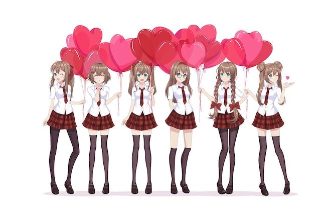 Anime manga girl tient des ballons en forme de coeur
