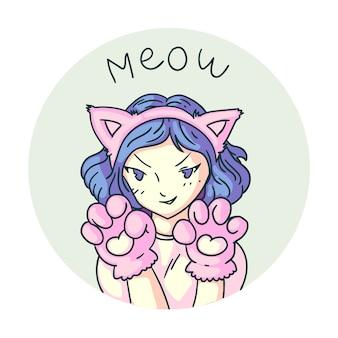 Anime manga kitty girl say meow autocollant sur fond blanc