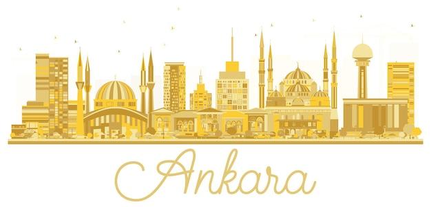Ankara turquie city skyline silhouette dorée. illustration vectorielle. concept de voyage d'affaires. paysage urbain d'ankara avec des points de repère.