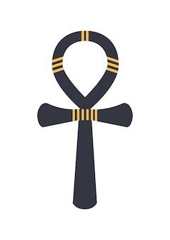 Ankh, signe hiéroglyphique égyptien antique ou logographe isolé sur fond blanc. objet historique, amulette religieuse, symbole de la vie et du pouvoir du pharaon. illustration vectorielle colorée dans un style plat.