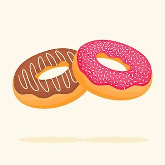 Anneau de beignets donut isolé sur beige