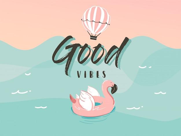 Anneau de flotteur en caoutchouc de natation flamant rose dans le paysage des vagues de l'océan et citation de typographie de bonnes vibrations isolé sur fond bleu