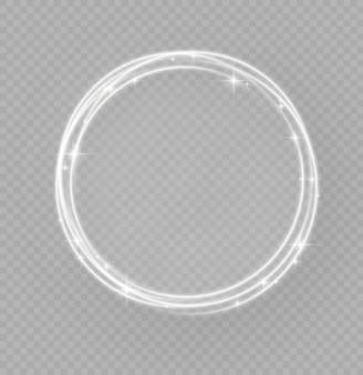 Anneau de lumière blanche abstraite avec effet de trace, des cercles de lumière brillants ou des étoiles clignote, trace lumineuse des rayons lumineux de torsion dans un mouvement rapide en spirale.
