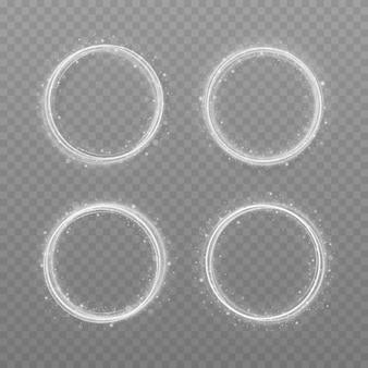 Anneau de lumière blanche de luxe abstrait avec effet de trace. cercle de vecteur blanc ligne effet de lumière.