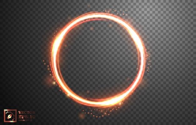 Anneau lumineux de feu avec étincelle, isolé sur motif transparent.