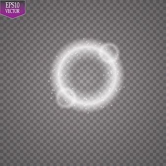 Anneau lumineux de vecteur. cadre rond brillant avec des particules de traînée de poussière de lumières isolées sur fond transparent.