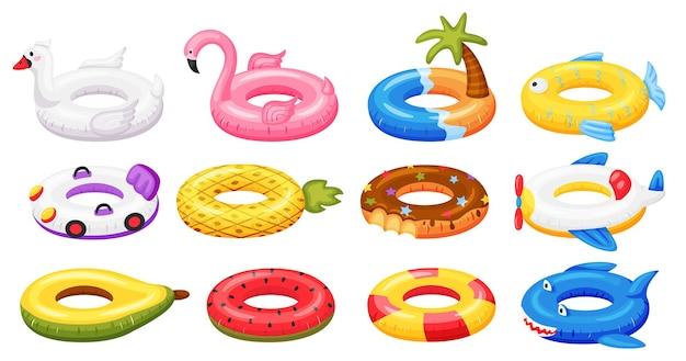 Anneau de natation accessoires de piscine gonflables jouets en caoutchouc flottants pastèque ananas beignet flamant rose