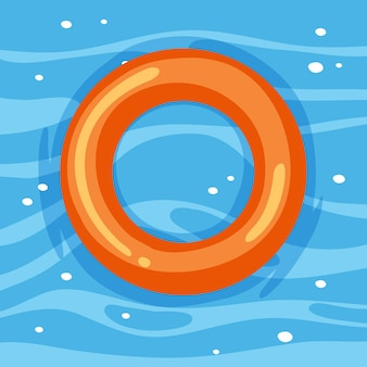 Anneau de natation orange dans l'eau isolé