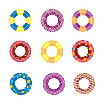 Anneaux de bain en caoutchouc colorés pour l'eau flottante. collection de bouée de sauvetage de cercle de natation pour la sécurité des enfants