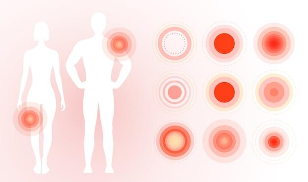 Anneaux de douleur rouges sur le corps humain, cercles concentriques.