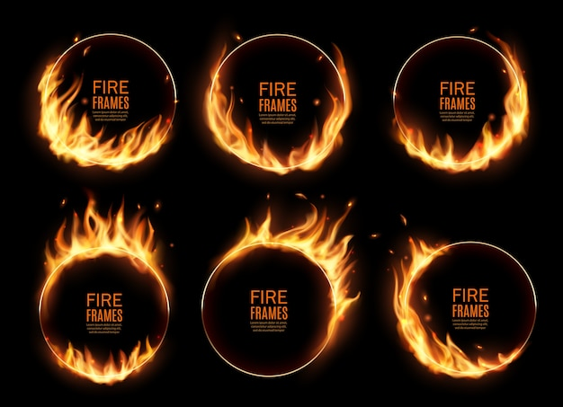 Des anneaux de feu, des cadres ronds brûlants. cercles de brûlure réalistes avec des langues de flamme sur les bords. cercles de fusée éclairante 3d pour la performance de cirque, cerceaux brûlés ou trous dans le feu, jeu de bordures circulaires