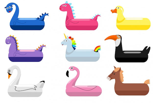 Anneaux de flotteur pour piscine d'animaux. anneaux de natation pour enfants avec des têtes d'animaux. bébé eau canard flottant et flamant rose, dinosaures, cygnes, bouées de sauvetage licornes, enfants dessin animé jouets de fête de la mer, illustration