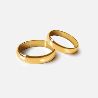Anneaux de mariage dorés isolés sur blanc, style réaliste 3d.