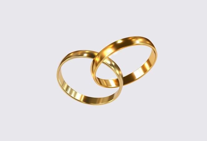 Anneaux de mariage dorés