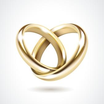 Anneaux de mariage en or isolés