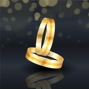 Anneaux de mariage en or réalistes