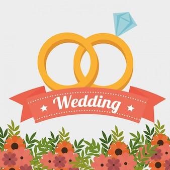Anneaux de mariage avec ruban