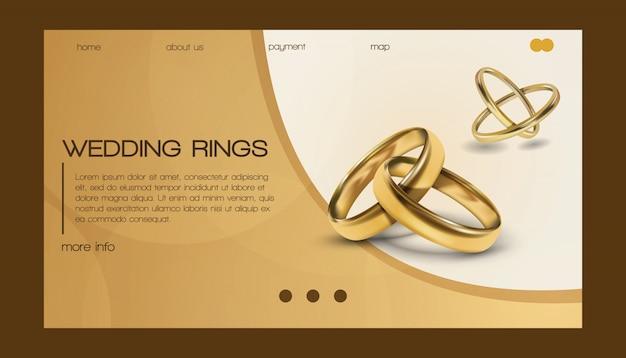 Anneaux de mariage wed shop business page de destination du symbole de fiançailles bijoux en or pour proposition mariage signe illustration de la page web