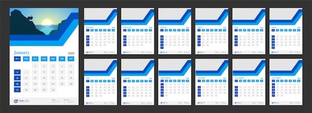 Année 2019, conception du calendrier.