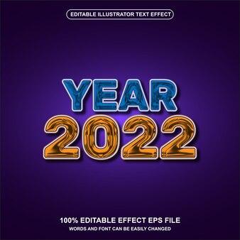 Année 2022 avec effet de texte liquide doré