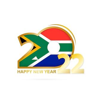 Année 2022 avec motif drapeau de l'afrique du sud. conception de bonne année.