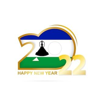 Année 2022 avec motif drapeau du lesotho. conception de bonne année.