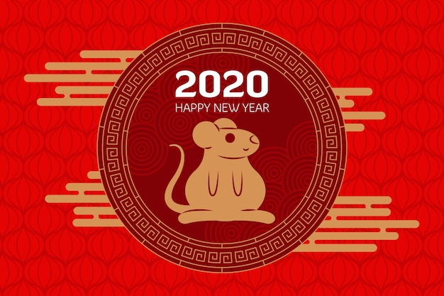 Année du rat 2020 en style plat