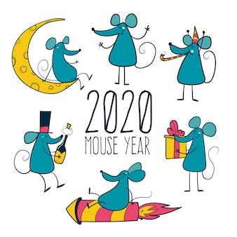 Année de la souris 2020 avec des souris dessinées à la main