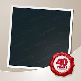Anniversaire de 40 ans avec collage de cadre photo et sceau de cire pour le 40e anniversaire