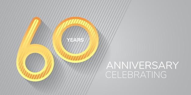 Anniversaire de 60 ans. numéro néon et bodycopy pour les voeux du 60e anniversaire